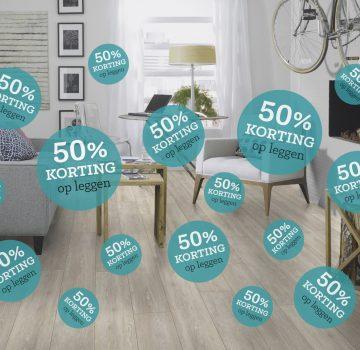 50% Korting op de legkosten bij aanschaf van een vloer in Oktober!